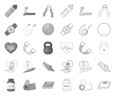 Gym and training mono,outline icons in set collection for design. Gym and equipment vector symbol stock web illustration.