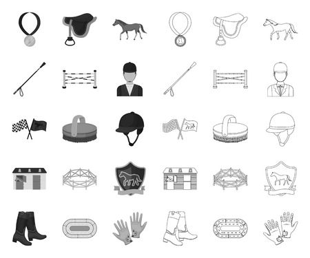 Hippodrome and horse mono,outline icons in set collection for design. Horse Racing and Equipment vector symbol stock web illustration. Ilustrace