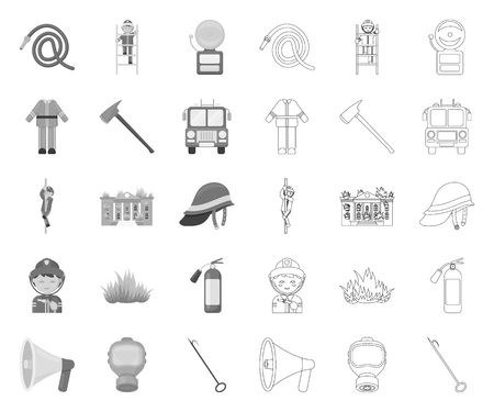 Fire Department mono,outline icons in set collection for design. Firefighters and equipment vector symbol stock web illustration.