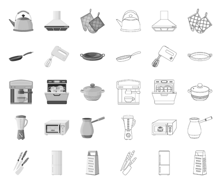 Kitchen equipment mono,outline icons in set collection for design. Kitchen and accessories vector symbol stock web illustration.
