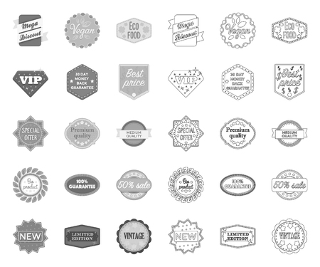 Different label mono,outline icons in set collection for design. Index and brand vector symbol stock web illustration.
