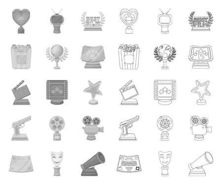 Film awards and prizes mono,outline icons in set collection for design. The World Film Academy vector symbol stock web illustration.