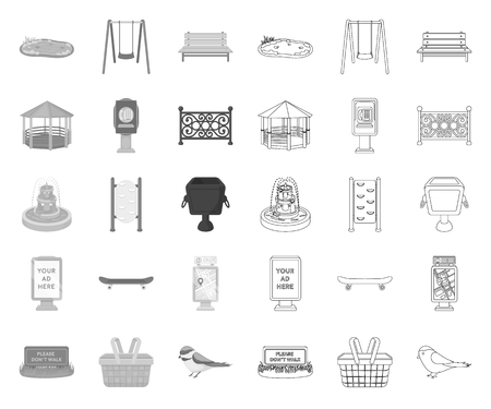 Park, equipment mono,outline icons in set collection for design. Walking and rest vector symbol stock web illustration.