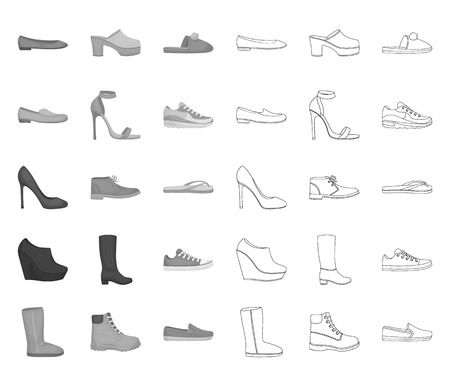 A variety of shoes mono,outline icons in set collection for design. Boot, sneakers vector symbol stock web illustration.