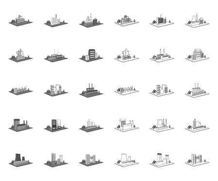 Factory and plant mono,outline icons in set collection for design. Production and enterprise vector isometric symbol stock web illustration. Stock Illustratie