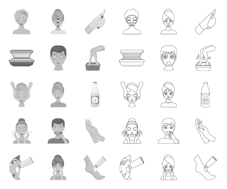 Skin care mono,outline icons in set collection for design. Face and body vector symbol stock web illustration.