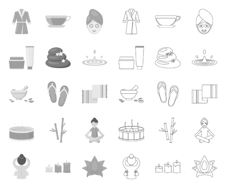 Spa salon and equipment mono,outline icons in set collection for design. Relaxation and rest vector symbol stock web illustration.