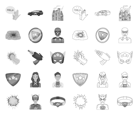 A fantastic superhero mono,outline icons in set collection for design. Superheros equipment vector symbol stock web illustration. Illustration