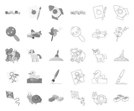Childrens toy mono,outline icons in set collection for design. Game and bauble vector symbol stock web illustration.