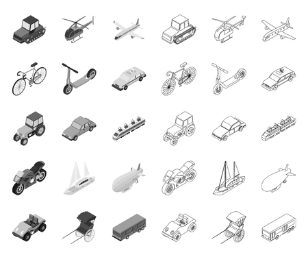 Different types of transport mono,outline icons in set collection for design. Car and ship isometric vector symbol stock web illustration.