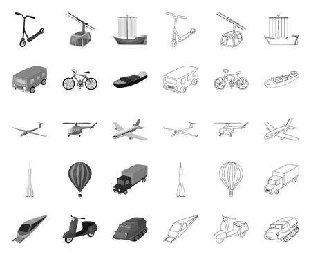 Verschiedene Arten von Transport-Mono, Umrisssymbole in Set-Sammlung für Design. Auto- und Schiffsvektorsymbolvorrat-Netzillustration.