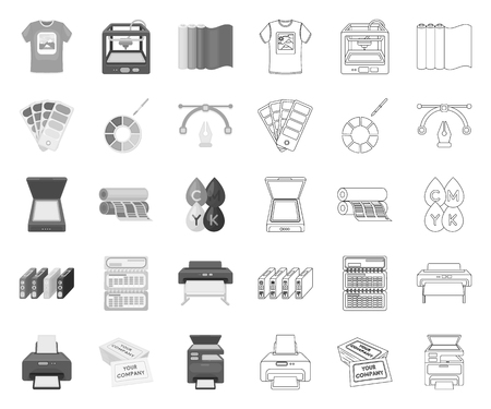 Typographical products mono,outline icons in set collection for design. Printing and equipment vector symbol stock web illustration. Ilustração