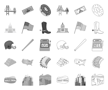 USA country mono,outline icons in set collection for design.Travel and attractions vector symbol stock web illustration.