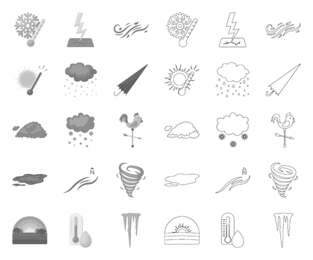 Different weather mono,outline icons in set collection for design.Signs and characteristics of the weather vector symbol stock web illustration.