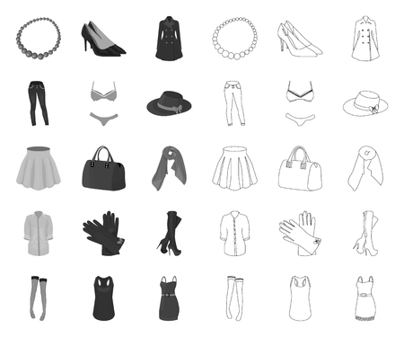 Womens Clothing mono,outline icons in set collection for design.Clothing Varieties and Accessories vector symbol stock web illustration.