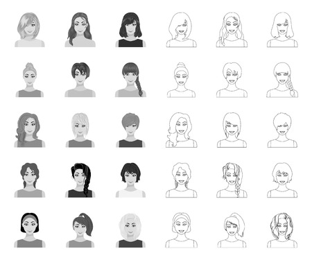 Types of female hairstyles mono,outline icons in set collection for design. Appearance of a woman vector symbol stock web illustration.
