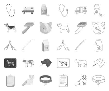 Veterinary clinic mono,outline icons in set collection for design. Treatment of a pet vector symbol stock web illustration.