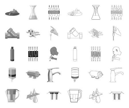 Water filtration system mono,outline icons in set collection for design. Cleaning equipment vector symbol stock web illustration. Illustration