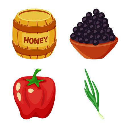 Vector illustration of food  and flavors symbol. Set of food  and ingredient  stock symbol for web.