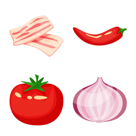 Isolated object of food  and flavors logo. Set of food  and ingredient  stock vector illustration.