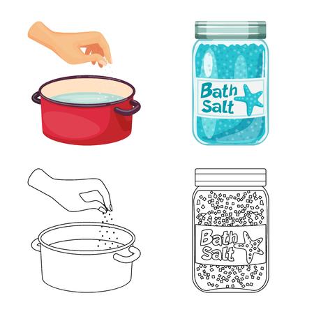 Vector illustration of cooking and sea logo. Collection of cooking and baking   vector icon for stock. Ilustração
