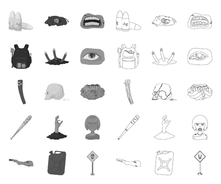 Zombies and Attributes mono,outline icons in set collection for design. Dead man vector symbol stock  illustration.