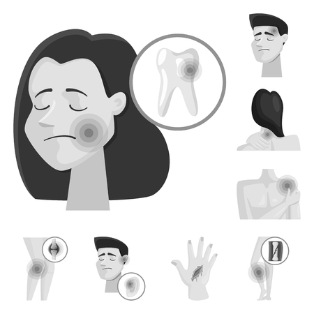 Vector design of suffering and injury sign. Set of suffering and damage stock vector illustration.