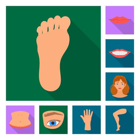 Vector illustration of body and part logo. Set of body and anatomy stock vector illustration. Standard-Bild - 122414529