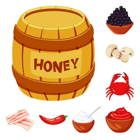Vector illustration of food  and flavors symbol. Collection of food  and ingredient  stock vector illustration.