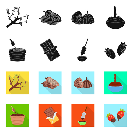 Isolated object of food and yummy logo. Set of food and brown   vector icon for stock. Illustration