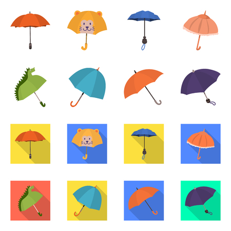 Vector illustration of protection and closed icon. Set of protection and rainy stock vector illustration.