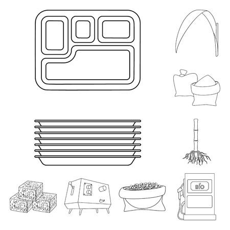 Vektorillustration des Zucker- und Feldlogos. Satz Zucker- und Plantagenvorrat-Vektorillustration. Logo