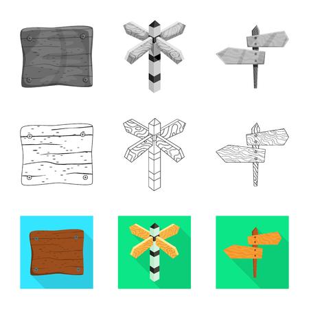 Objeto aislado de icono crudo y forestal. Colección de símbolo de stock de madera cruda y dura para web.