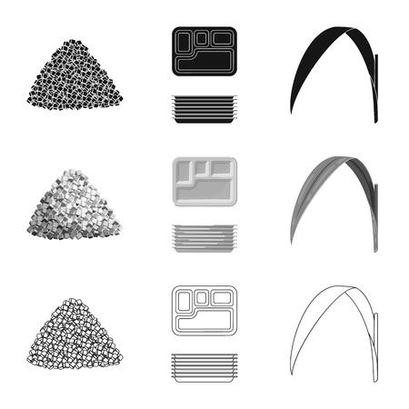 Illustration vectorielle du signe de la ferme et de l'agriculture. Ensemble d'illustration vectorielle stock ferme et technologie. Vecteurs