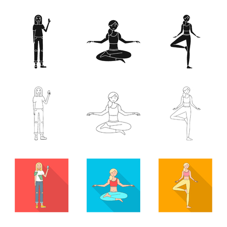 Vector illustration of posture and mood sign. Set of posture and female vector icon for stock.