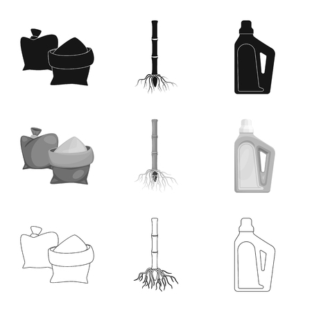 Vector design of farm and agriculture icon. Collection of farm and technology vector icon for stock.