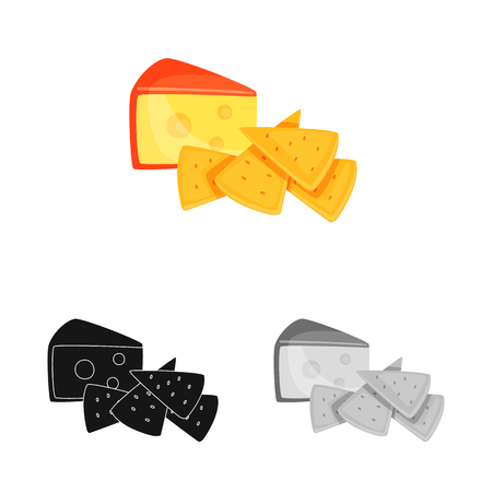 Vector illustration of cracker and appetizer  sign. Collection of cracker and lactic stock symbol for web. Иллюстрация
