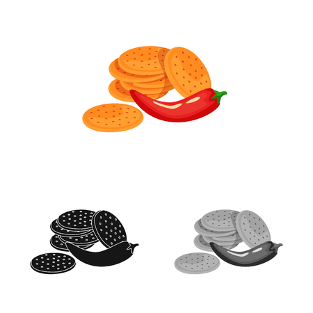 Isolated object of cracker and cookie icon. Collection of cracker and red vector icon for stock. Ilustrace