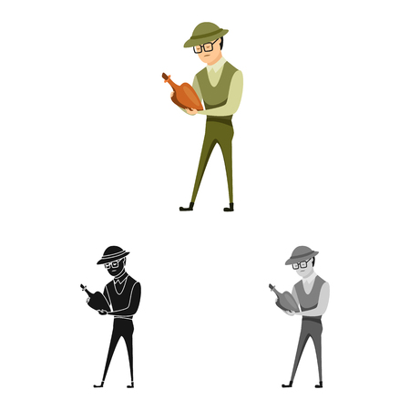 Vector design of archaeologist  and human. Collection of archaeologist  and seeker  stock symbol for web.