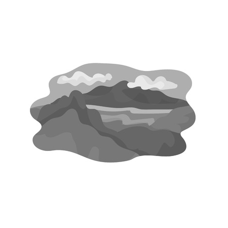 Vector illustration of mountain and lake symbol. Collection of mountain and forest vector icon for stock.