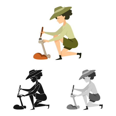 Isolated object of archaeologist  and girl icon. Collection of archaeologist  and pit stock vector illustration. Çizim
