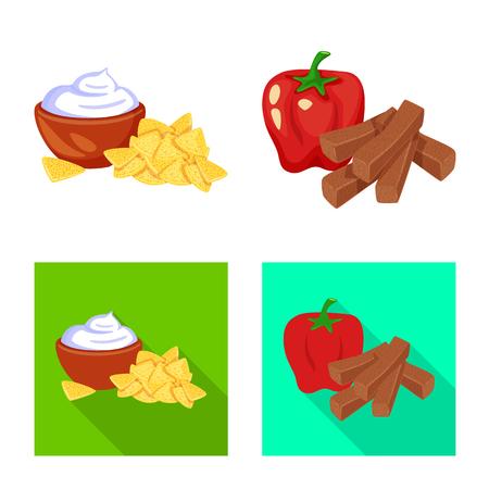 Isolated object of taste and seasonin sign. Set of taste and organic   stock vector illustration. Illustration