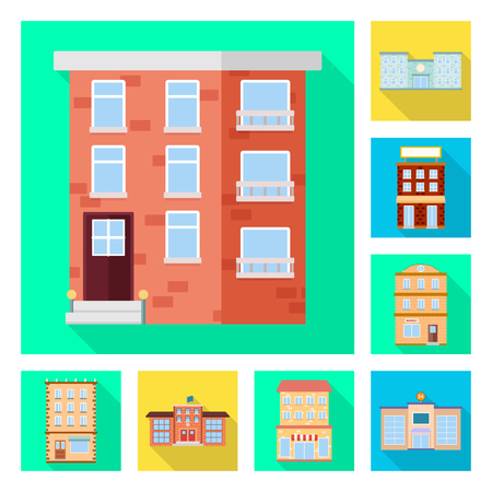 Vector illustration of municipal and center icon. Set of municipal and estate stock symbol for web. Vector Illustratie