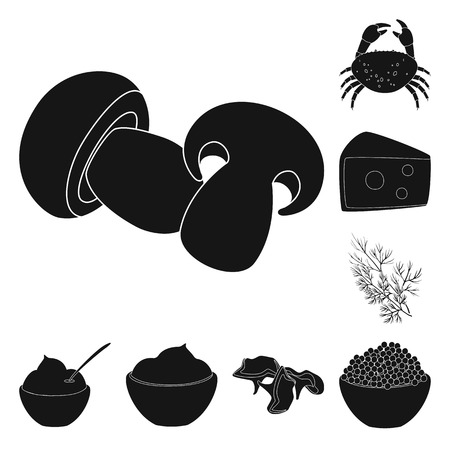 Isolated object of organic and cooking logo. Set of organic and flavors vector icon for stock. Vettoriali