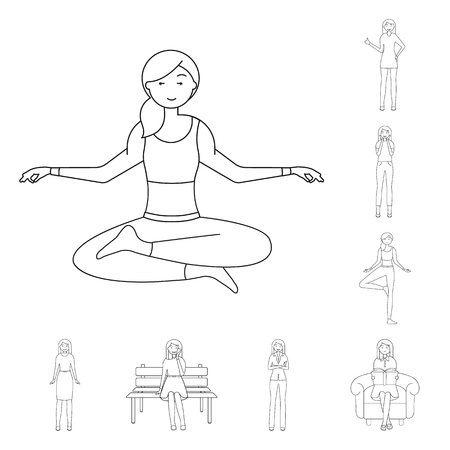 Isolated object of posture and mood. Set of posture and female vector icon for stock.