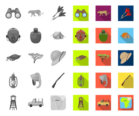 African mono,flat icons in set collection for design. Trophies and equipment for Safari vector symbol stock web illustration.