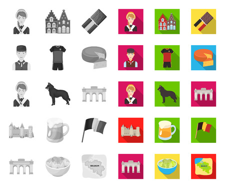 Country Belgium mono,flat icons in set collection for design.Travel and attractions Belgium vector symbol stock web illustration.