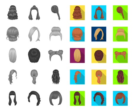 Female hairstyle mono,flat icons in set collection for design. Stylish haircut vector symbol stock web illustration.