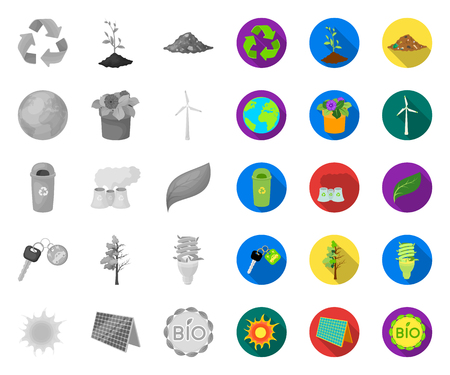 Bio and ecology mono,flat icons in set collection for design. An ecologically pure product vector symbol stock web illustration.