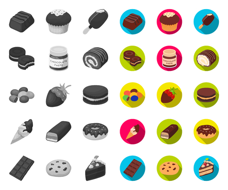 Chocolate Dessert mono,flat icons in set collection for design. Chocolate and Sweets vector symbol stock web illustration.